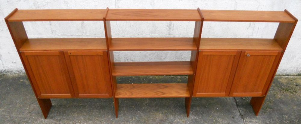 1960 S Retro Teak Open Bookcase Shelves Storage Cabinet By